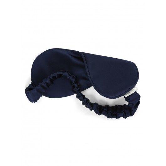 Шелковая маска для сна темно-синяя